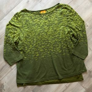 🦋5 for 25 Ruby Rd Green Rhinestone Burnout Blouse